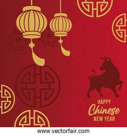 happy chinese new year lettering card with ox and golden lanterns