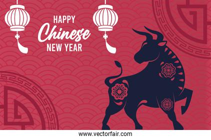 happy chinese new year lettering card with ox and lanterns