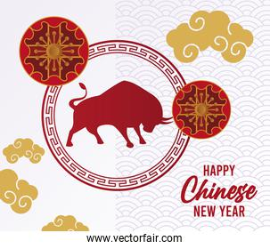 happy chinese new year lettering card with ox silhouette and golden clouds