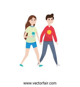 happy young couple walking icon, colorful design