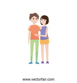 happy young couple smiling, colorful design