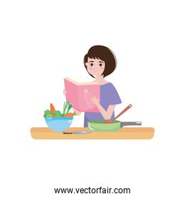 cartoon woman reading a cooking book and table with kitchen elements, colorful design