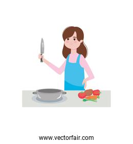 cartoon woman with vegetables and a pan and holding a knife, colorful design