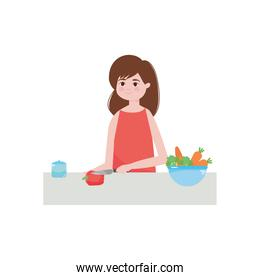 cartoon woman chopping a pepper and bowl with vegetables around, colorful design