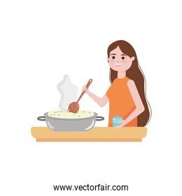 cartoon woman cooking and hot rice pot, colorful design