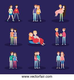 icon set of happy couples in love, colorful design