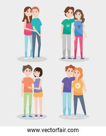 icon set of happy couples, colorful design