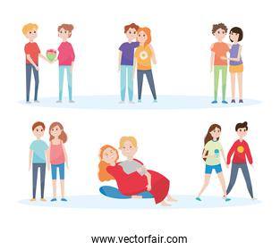 icon set of cartoon young couples, colorful design
