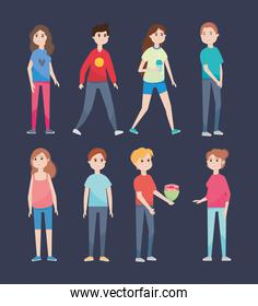 icon set of young men and women standing, colorful design