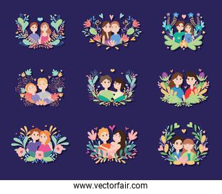icon set of Young couples with floral wreaths, colorful design