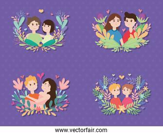icon set of happy couples with floral wreaths