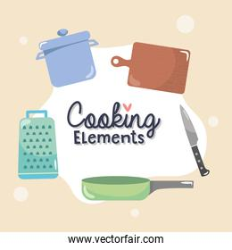 cooking elements design with chopping board and related elements around