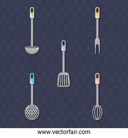 kitchen tools icon set, colorful design