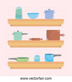 shelves with cooking elements, colorful design