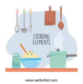 cooking elements design with kitchen tools and pots, colorful design