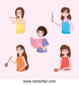 cartoon women holding cooking elements, colorful design