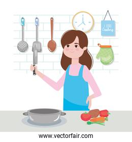 woman in the kitchen with vegetables and cooking elements around, colorful design