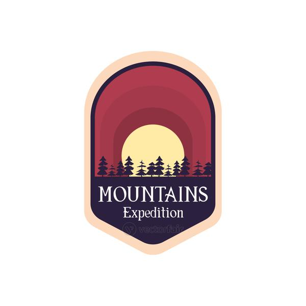 mountains expedition label vector design
