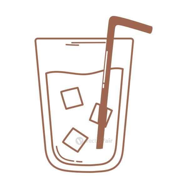coffee or tea beverage drink cold with straw icon in brown line