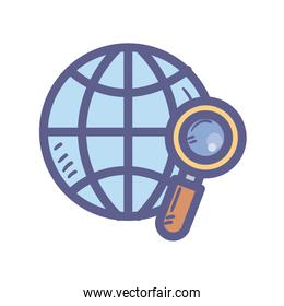 Global sphere with lupe isolated icon