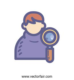 man avatar icon with lupe vector design