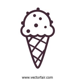 ice cream cone with chocolate chips line style icon vector design