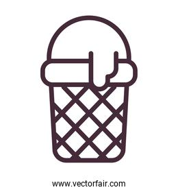 ice cream basket line style icon vector design