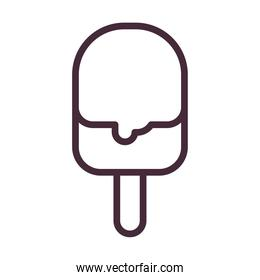 ice cream with stick of double flavors line style icon vector design