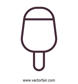 ice cream with stick bar line style icon vector design