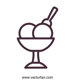 ice cream cup with spoon line style icon vector design