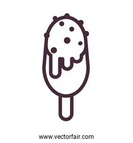 ice cream with stick cream and chips line style icon vector design