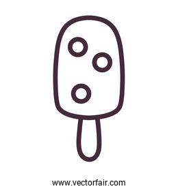 ice cream with stick and berries line style icon vector design