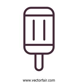 ice cream of 3 flavors with stick line style icon vector design
