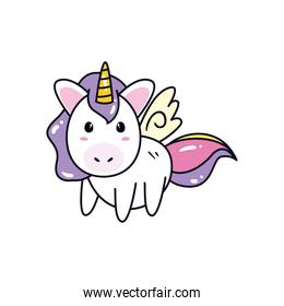 unicorn horse cartoon with wings vector design