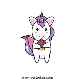 unicorn horse cartoon with muffin vector design