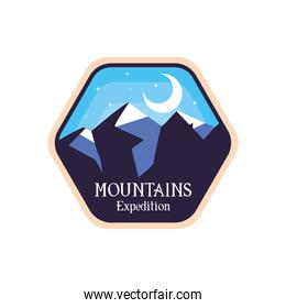 blue mountains expedition with moon landscape label vector design