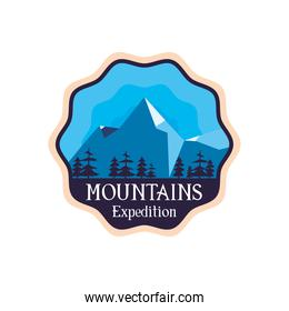 mountains expedition with pine trees landscape seal stamp vector design