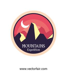 mountains expedition with moon landscape seal stamp vector design