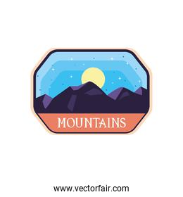 mountains with moon landscape frame label vector design