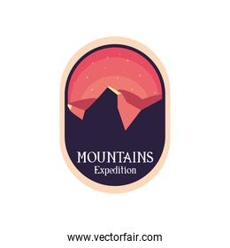 mountains expedition at night landscape label vector design
