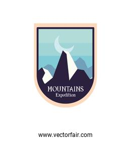 mountains expedition with moon landscape label vector design