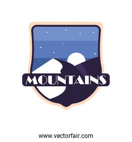 mountains with moon landscape shield label vector design