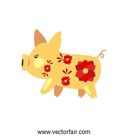 chinese pig with red flowers vector design