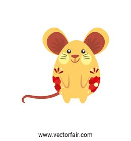 chinese mouse with red flowers vector design