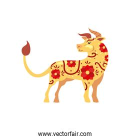Chinese new year 2021 bull golden  with red flowers vector design