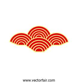 chinese red and yellow cloud vector design