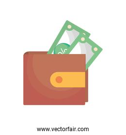bills inside wallet vector design