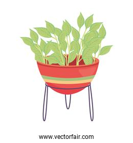 plant inside pot with lines vector design