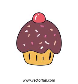 Sweet cupcake with cherry vector design