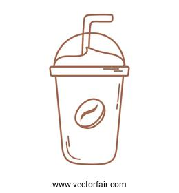 plastic disposable cup coffee with straw icon in brown line